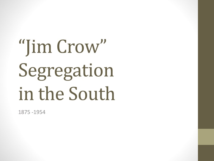 jim crow segregation in the south n.