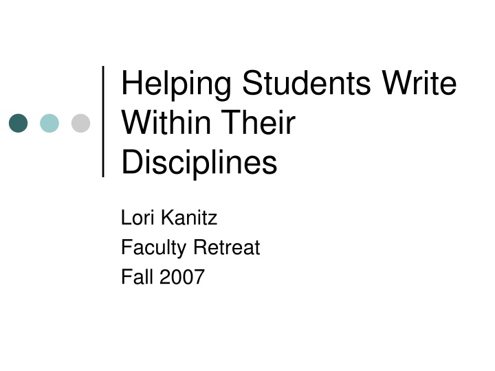 helping students write within their disciplines n.