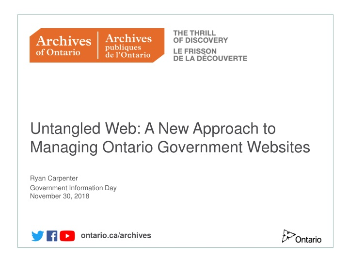 untangled w eb a new a pproach to managing ontario government w ebsites n.