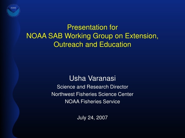 presentation for noaa sab working group on extension outreach and education n.