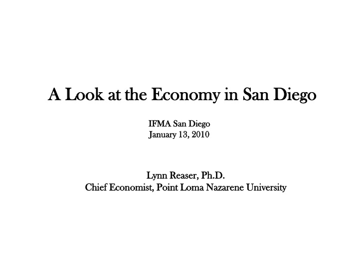 a look at the economy in san diego n.