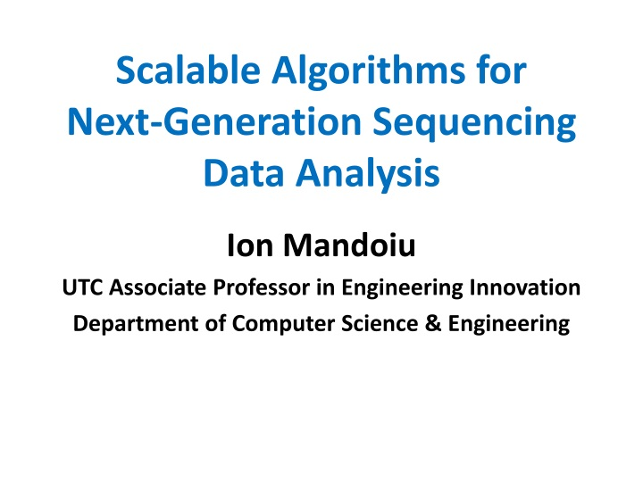 scalable algorithms for next generation sequencing data analysis n.