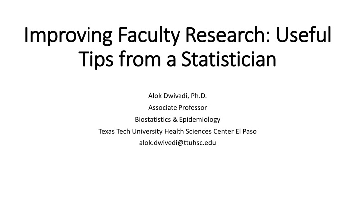 improving faculty research useful tips from a statistician n.