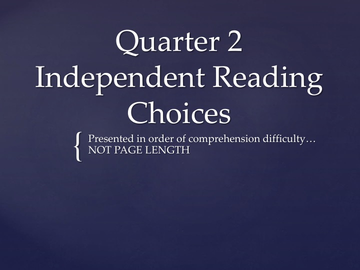 quarter 2 independent reading choices n.