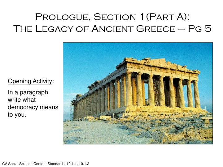 prologue section 1 part a the legacy of ancient greece pg 5 n.
