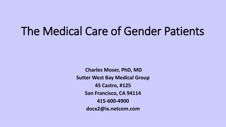 the medical care of g ender patients n.