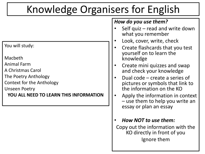 knowledge organisers for english n.