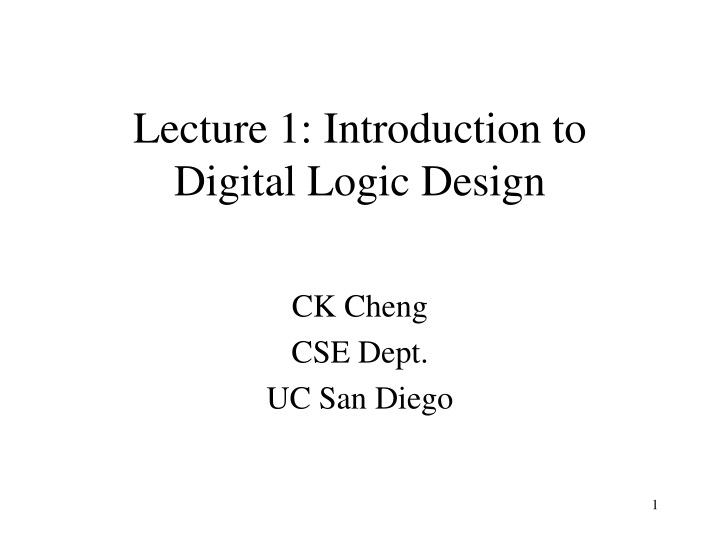 lecture 1 introduction to digital logic design n.