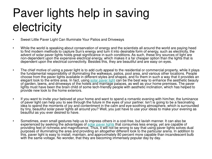paver lights help in saving electricity n.