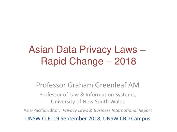 asian data privacy laws rapid change 2018 n.