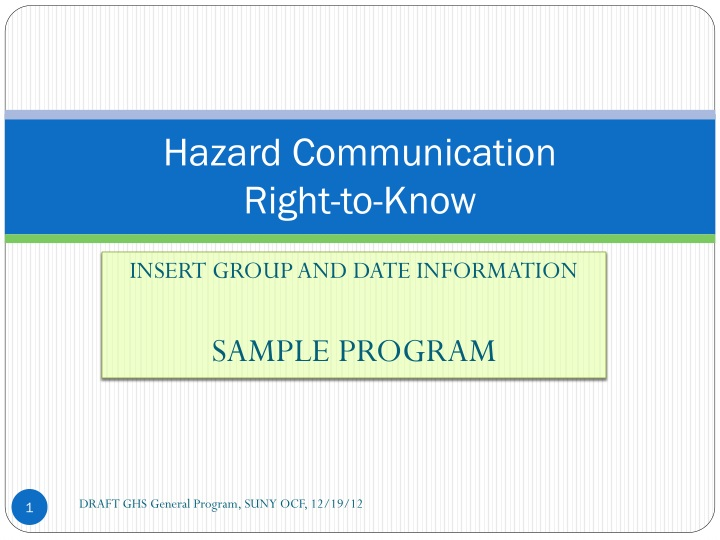 hazard communication right to know n.