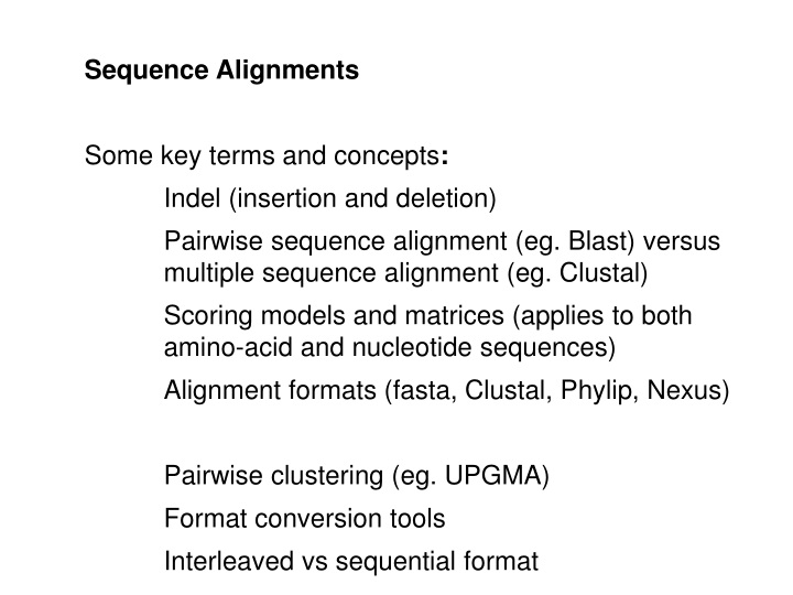 sequence alignments some key terms and concepts n.