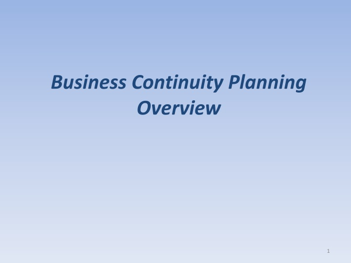 business continuity planning overview n.