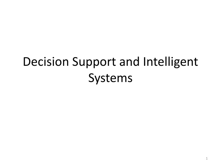 decision support and intelligent systems n.