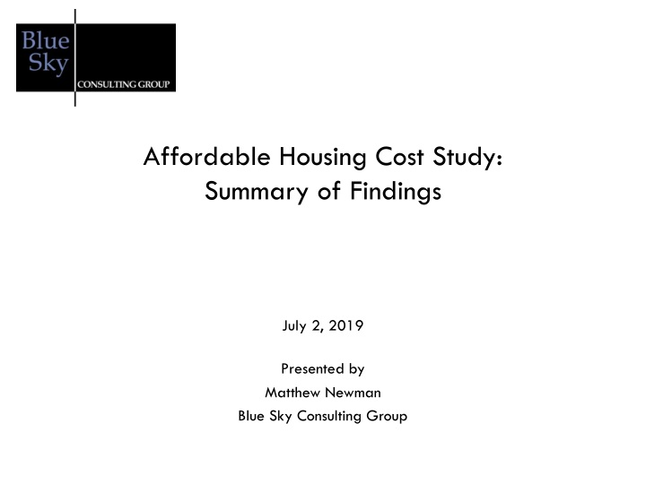 affordable housing cost study summary of findings n.