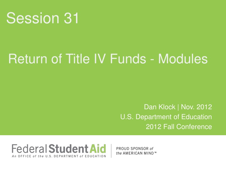 return of title iv funds modules n.