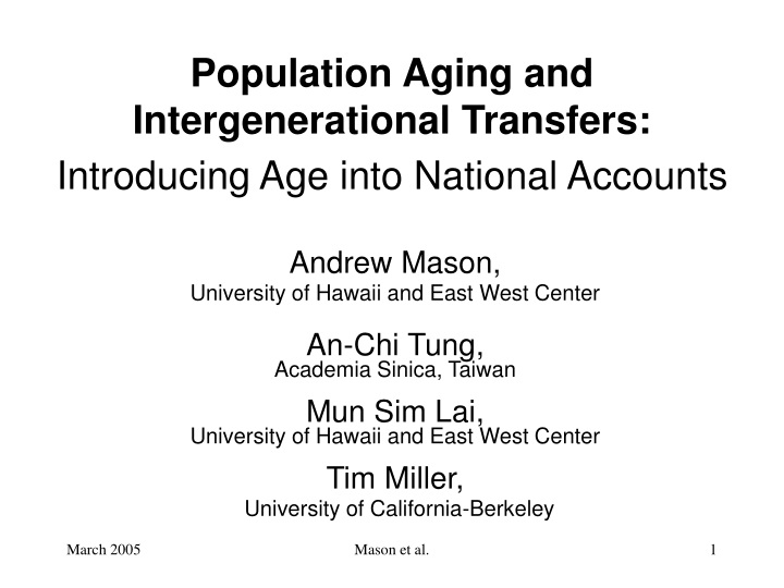 population aging and intergenerational transfers introducing age into national accounts n.