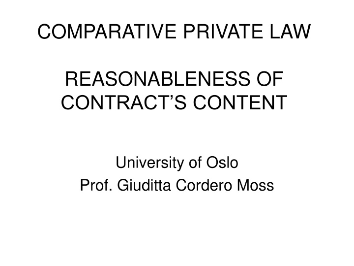 comparative private law reasonableness of contract s content n.