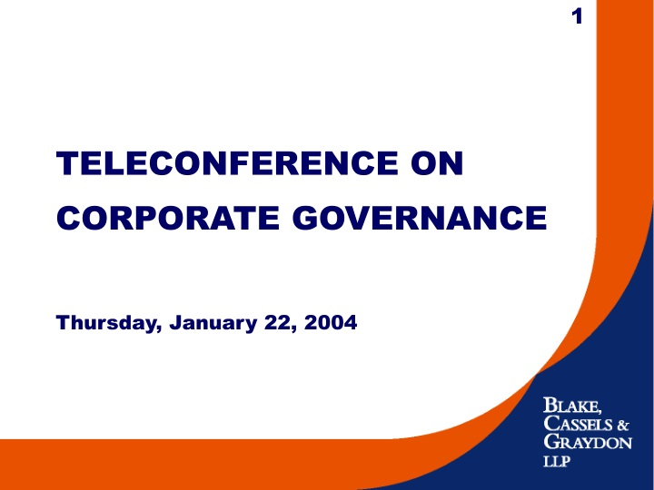 teleconference on corporate governance thursday january 22 2004 n.