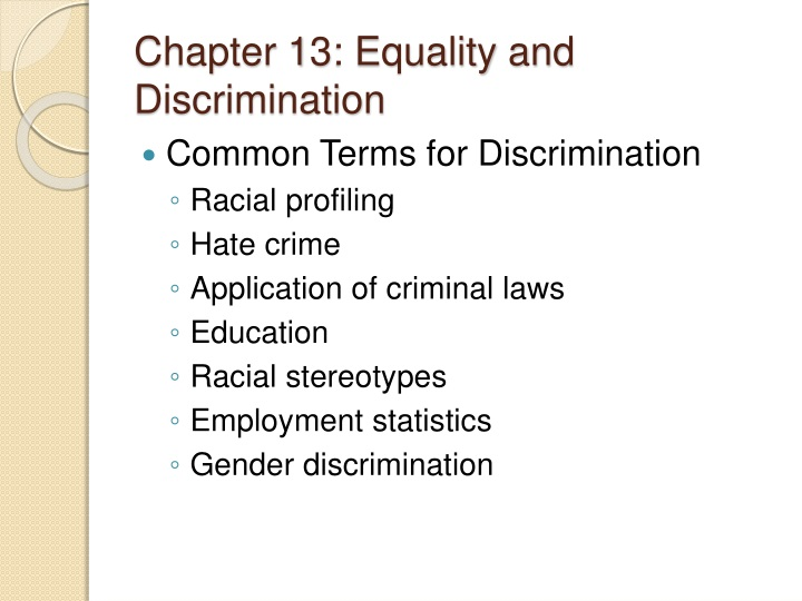 chapter 13 equality and discrimination n.