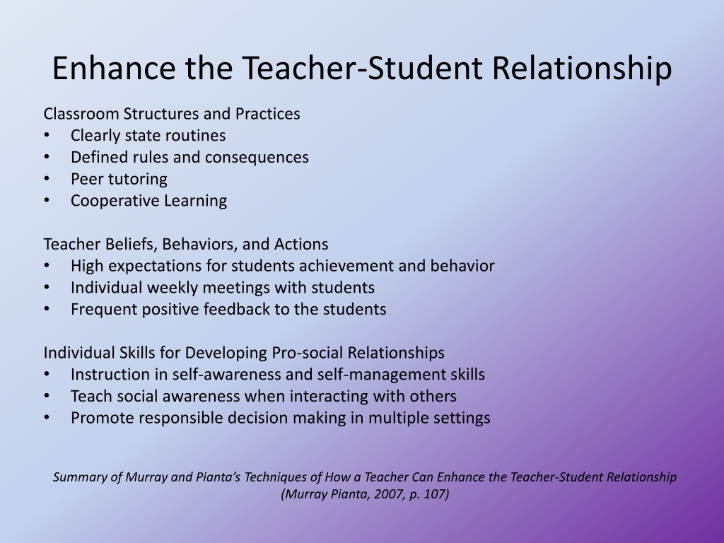 Teacher student relationship consequences