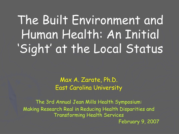the built environment and human health an initial sight at the local status n.