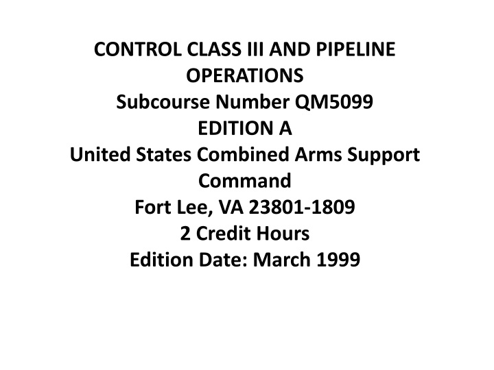 control class iii and pipeline operations n.