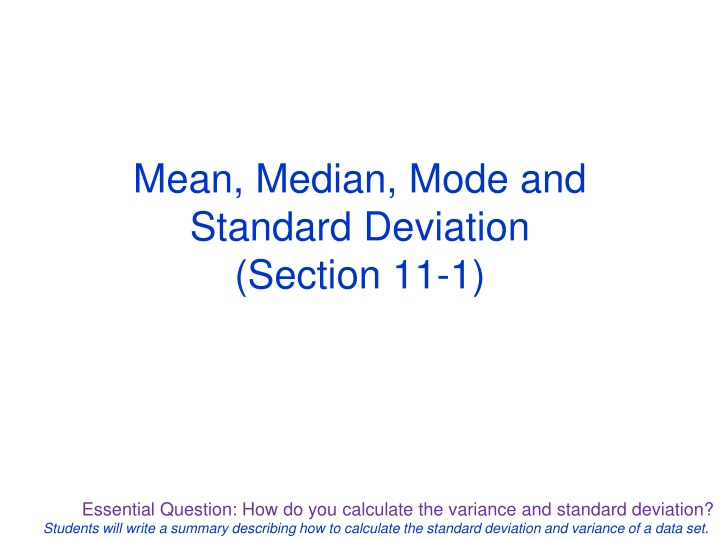 mean median mode and standard deviation section 11 1 n.