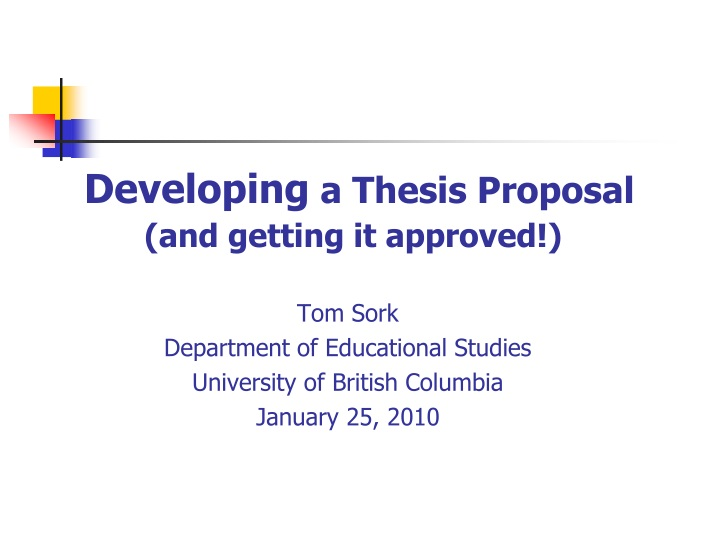 developing a thesis proposal and getting it approved n.