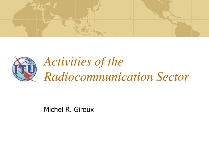 activities of the radiocommunication sector n.