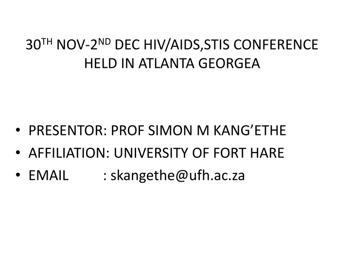 30 th nov 2 nd dec hiv aids stis conference held in atlanta georgea n.