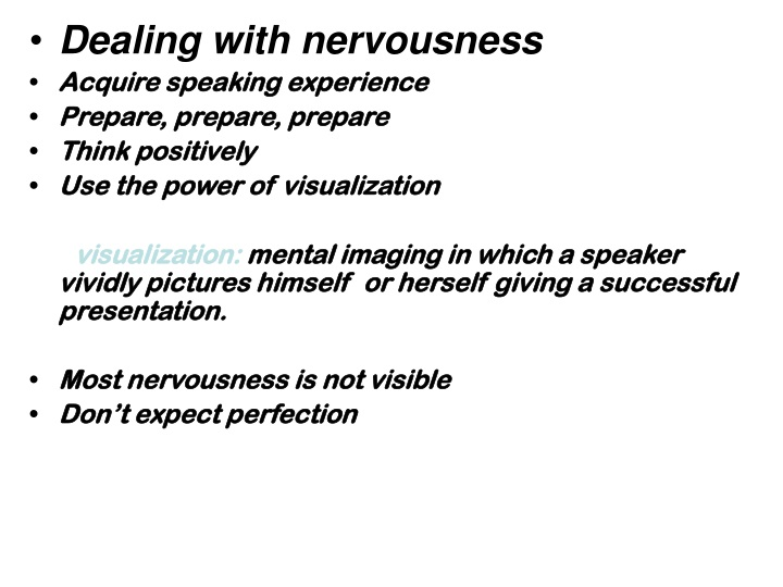 dealing with nervousness acquire speaking n.