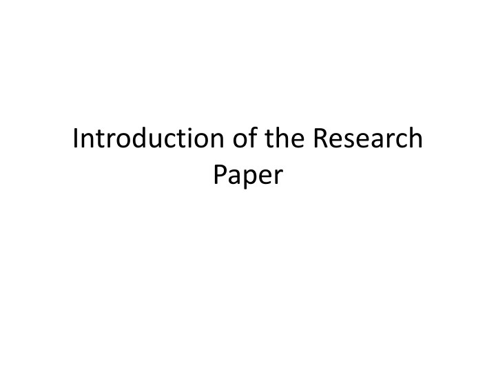 introduction of the research paper n.