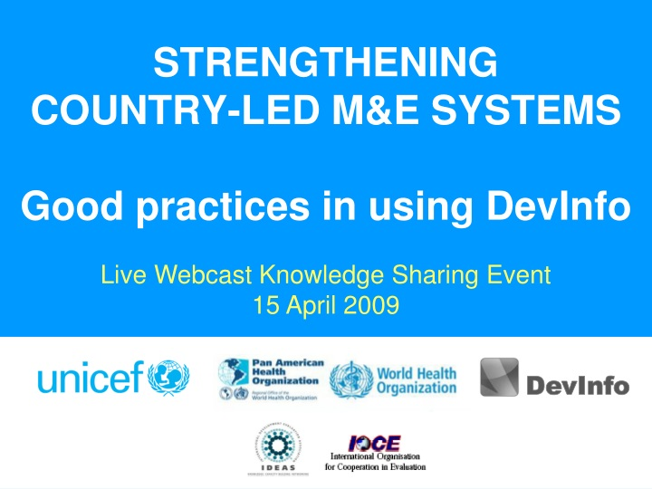 strengthening country led m e systems good practices in using devinfo n.