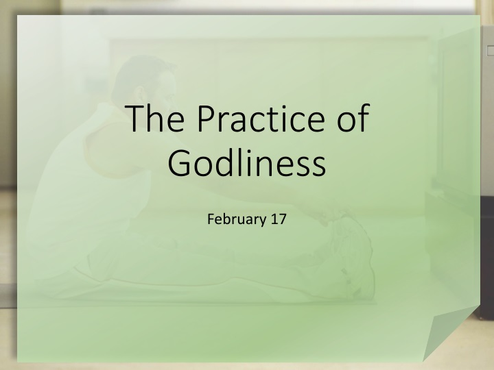 the practice of godliness n.