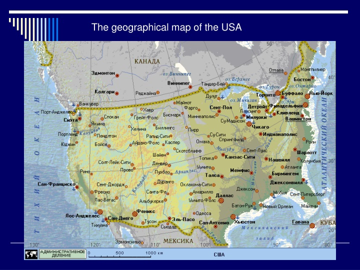 the geographical map of the usa n.