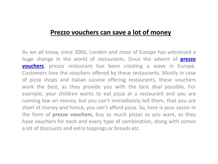 prezzo vouchers can save a lot of money n.