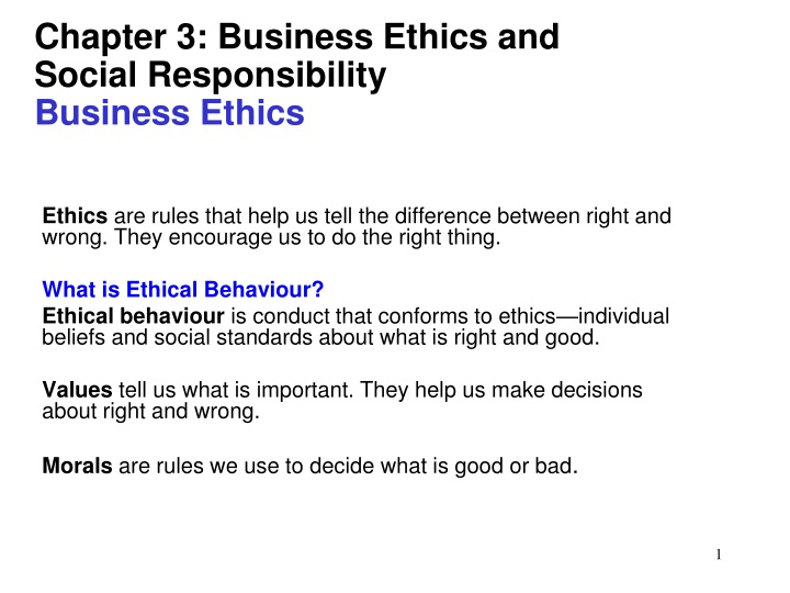 chapter 3 business ethics and social responsibility business ethics n.