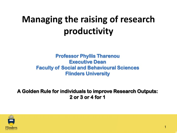 managing the raising of research productivity n.