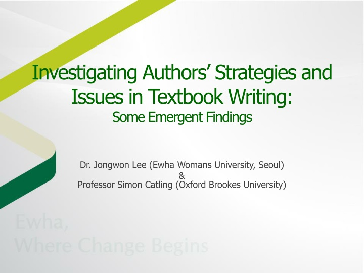 investigating authors strategies and issues in textbook writing some emergent findings n.