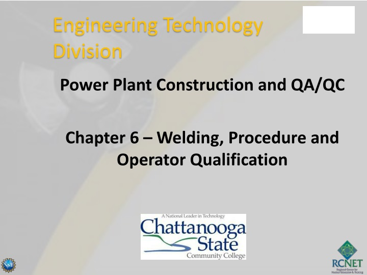 power plant construction and qa qc chapter 6 welding procedure and operator qualification n.