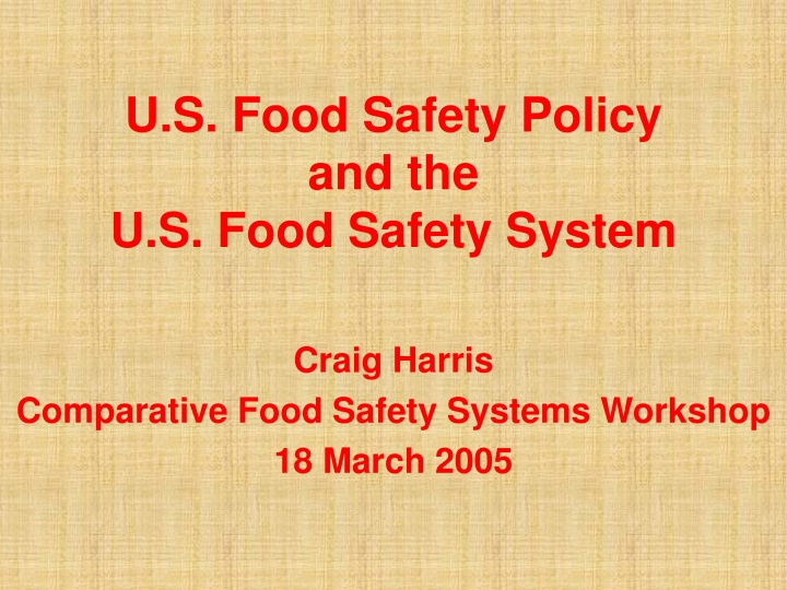 u s food safety policy and the u s food safety system n.