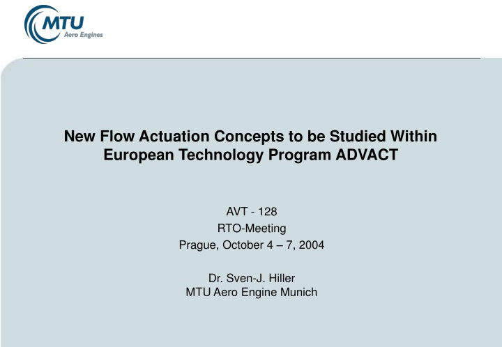 new flow actuation concepts to be studied within european technology program advact n.