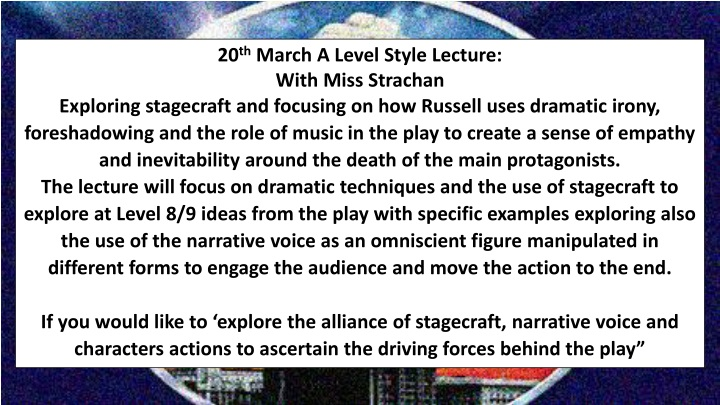 20 th march a level style lecture with miss n.