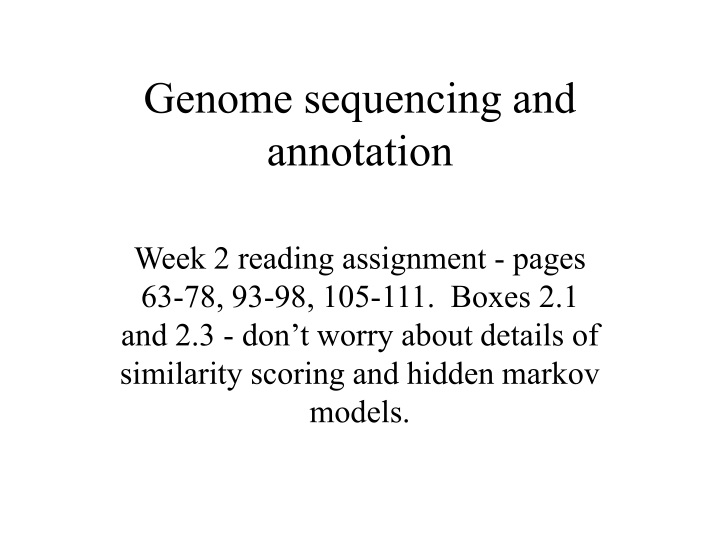 genome sequencing and annotation n.