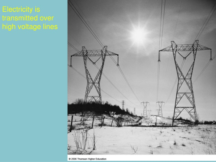 electricity is transmitted over high voltage lines n.