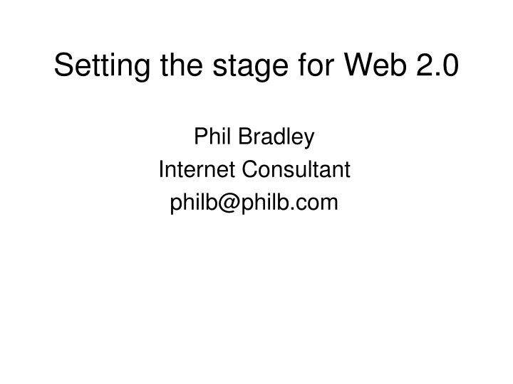 setting the stage for web 2 0 n.