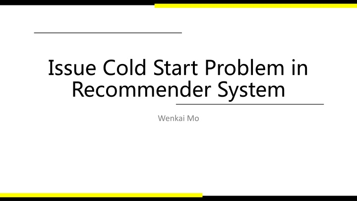 issue cold start problem in recommender system n.
