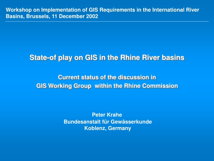 workshop on implementation of gis requirements n.
