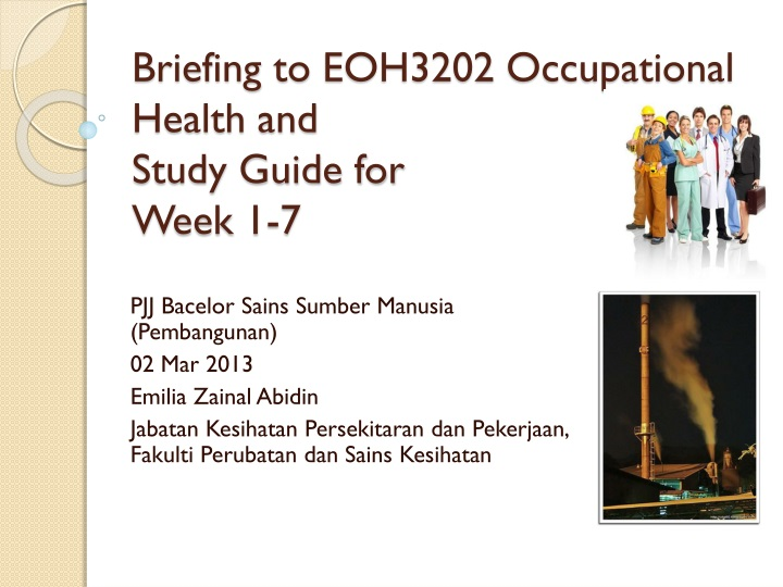 briefing to eoh3202 occupational health and study guide for week 1 7 n.